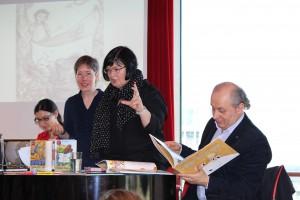 Jutta LIndekugel, Lydia Nagel, LesjaWoronyna und Iwan Malkowytsch (v.l.n.r.) bei einer Lesung in Düsseldorf